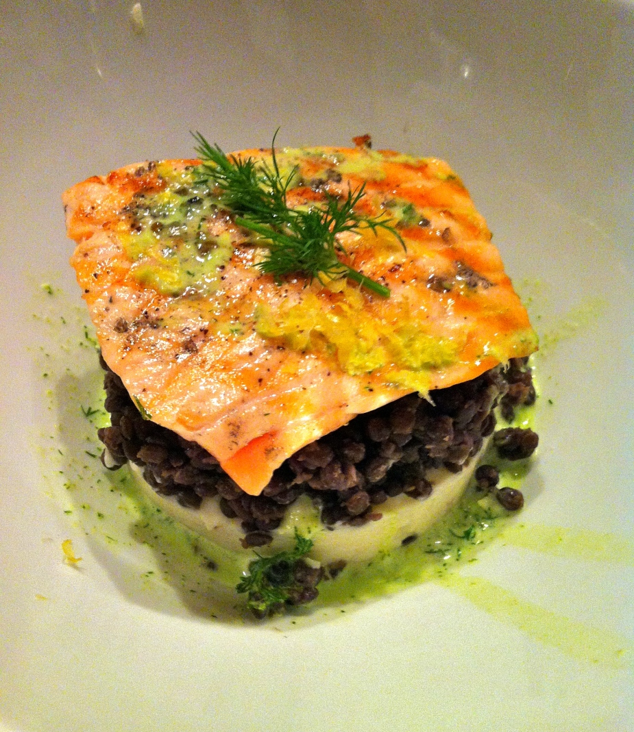 Salmon with Celeriac and lentil