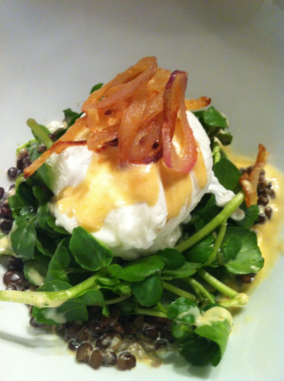 Black lentils, watercress, poached egg, chipotle cream