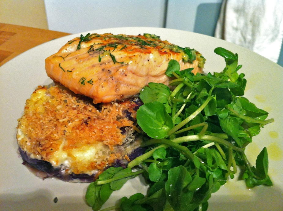 Salmon and Blue Potato Au Gratin