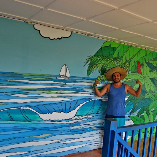 Stumbled Upon this Artist, A. Rubi in Jaco. He started painting less than a year ago. Here he is with a recent mural.