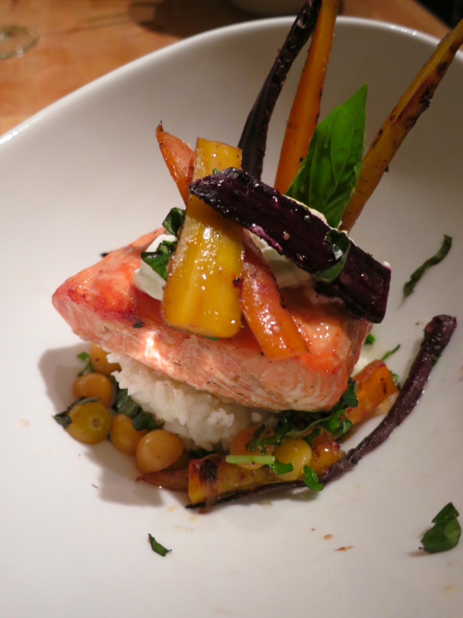 Grilled salmon with heirloom carrots